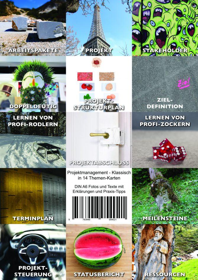 14 Themen-Karten für klassisches Projektmanagement im Überblick